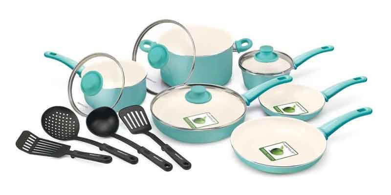 Greenlife 14 Piece Nonstick Ceramic Cookware Set With Soft