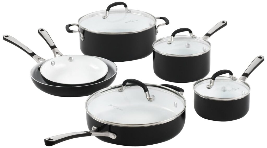 simply calphalon ceramic nonstick set 10 piece black