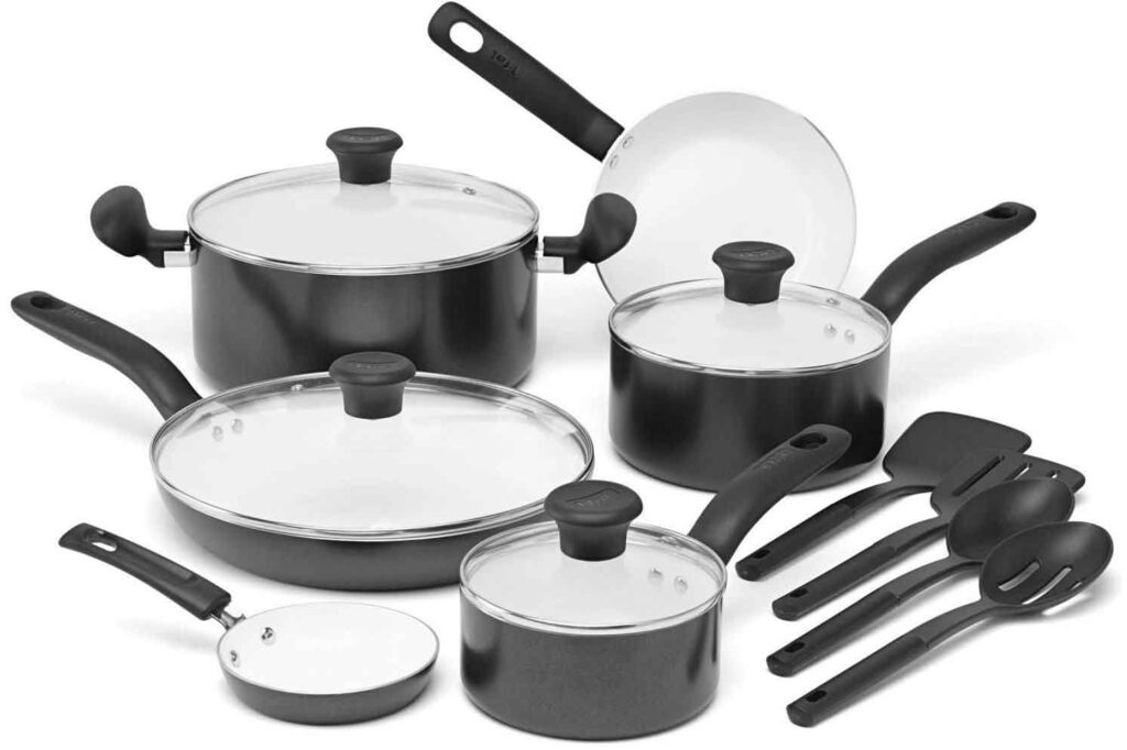 T fal C921SE Ceramic Nonstick Cookware Set 14 Piece