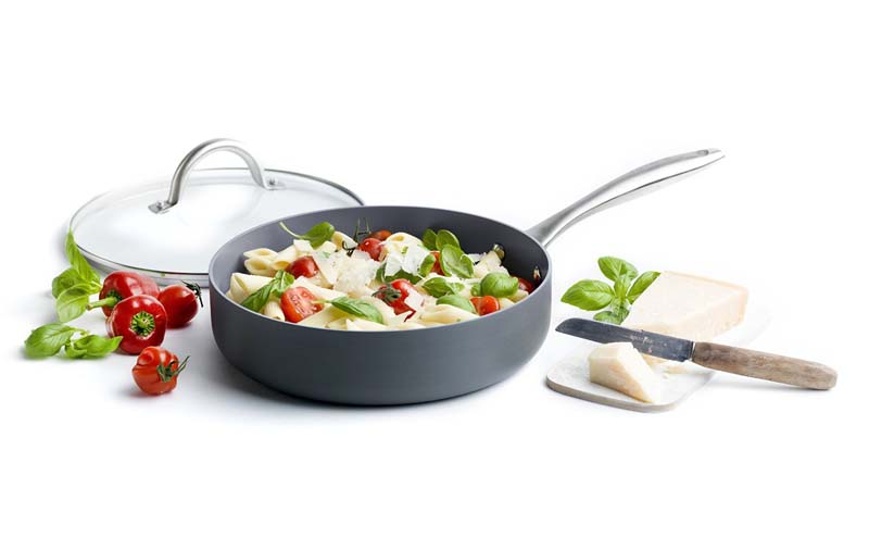 GreenPan 12 Piece Lima Hard Anodized Nonstick Ceramic Cookware Set using with lid