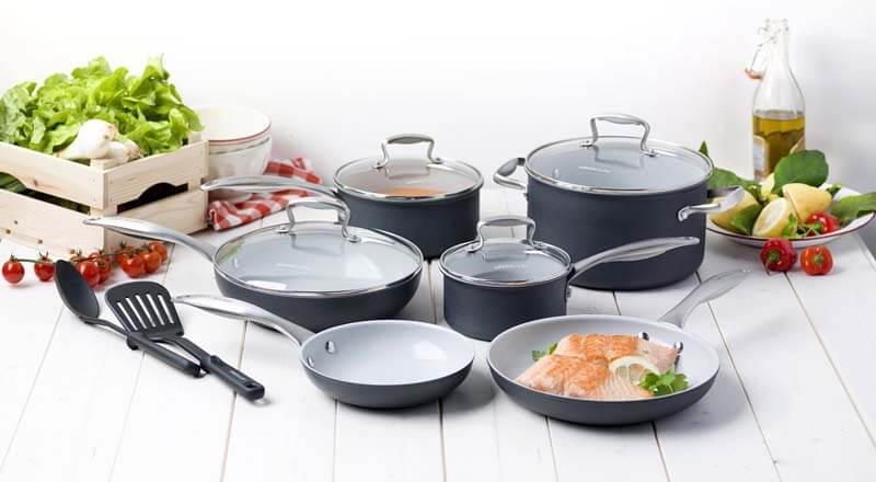 Greenlife 12 piece hard anodized nonstick ceramic classic cookware set in Kitchen