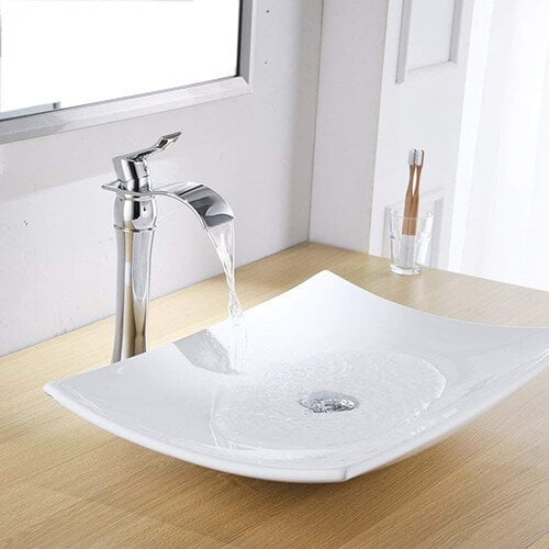 Aquafaucet Tall Waterfall Single Handle Chrome Bathroom Sink Vessel Faucet