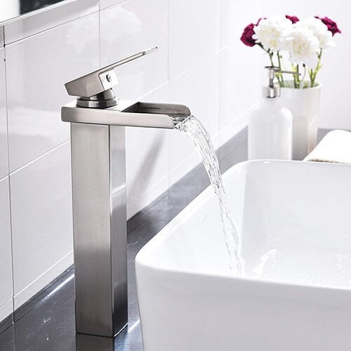 Comllen Waterfall Spout Single Handle Lever Bathroom Vessel Sink Faucet, Brushed Nickel