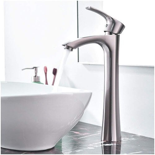 KINGO HOME Contemporary Single Handle Tall Vessel Sink Brushed Nickel Bathroom Faucet
